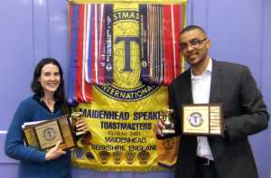 2013's International Club Contest winners: Julie Farrell (Speech Contest) & Yohan McDonald (Evaluation Contest).