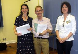 John Callaghan receives his certificate for finishing 2nd in the 2013 MSC Table Topics Contest.