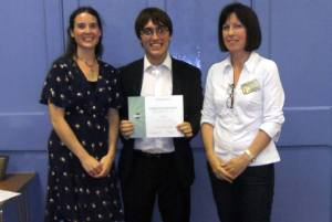 Sam Billington receives his certificate for finishing 2nd in the 2013 MSC Humorous Speech Contest.