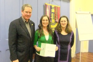 Karen (alongside Mark & Monica) back again to receive another runner-up certificate, this time for the Evaluation Contest.