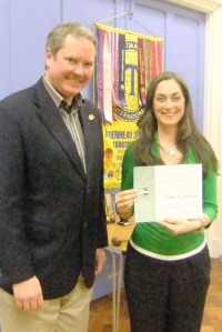 Karen receiving her certificate from Mark for finishing runner-up in the Club Speech Contest.