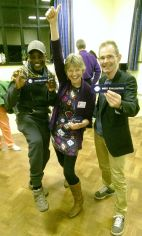 Victorious Ribbon Winners celebrating at a MSC meeting in April 2014! From left: Michael Williams (Best Speech). Doreen Gowing (Best Table Topics) & John Callaghan (Best Evaluator).