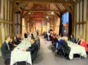 Club members and guests all seated in the Long Barn and waiting for the evening to begin!